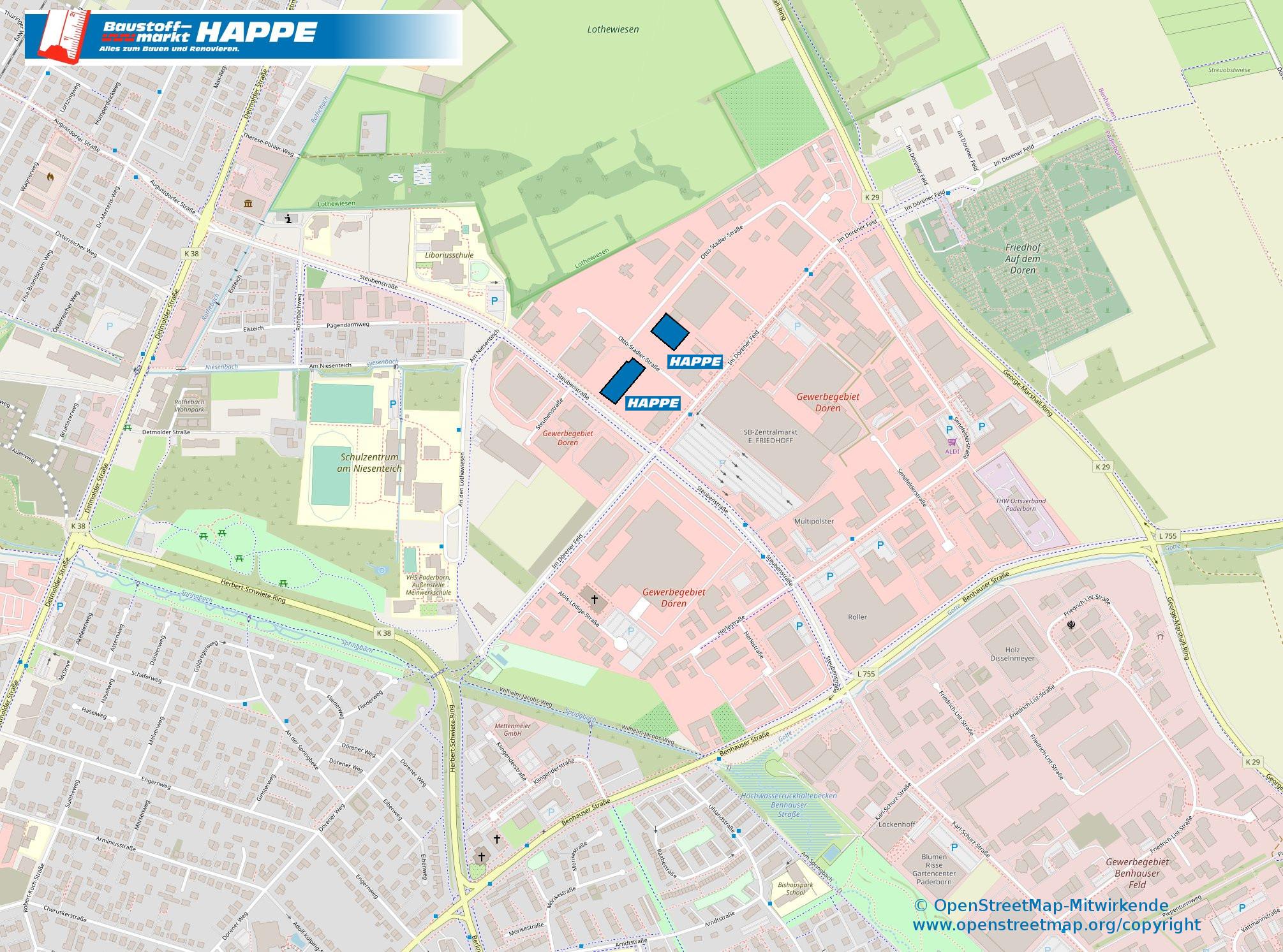 Karte Paderborn.Baustoffmarkt Happe In Paderborn